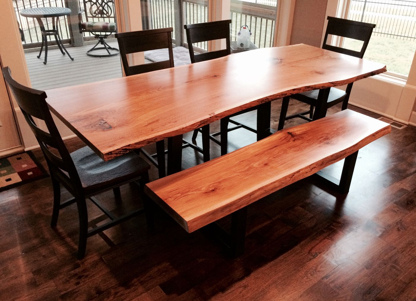 Custom made live edge dining room table and bench white oak