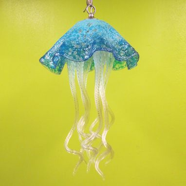 Custom Made Jellyfish Pendant Light - Turquoise Jellyfish - Blown Glass Lighting - Art Glass Chandelier