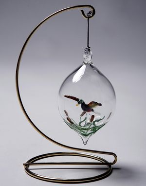 Custom Made Mallard In Sphere.  Hand-Blown Glass Ornament