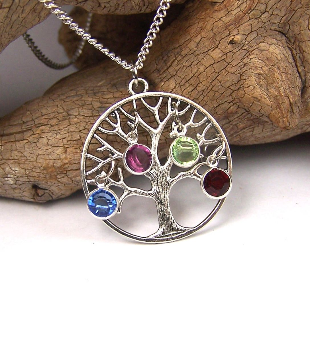 Buy hand crafted personalized family tree necklace pendant with custom made personalized family tree necklace pendant with birthstones swarovski crystals aloadofball