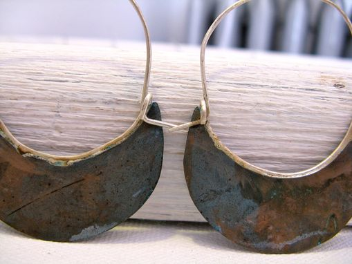 Custom Made Silver Hoop Earrings With Verdigris Copper