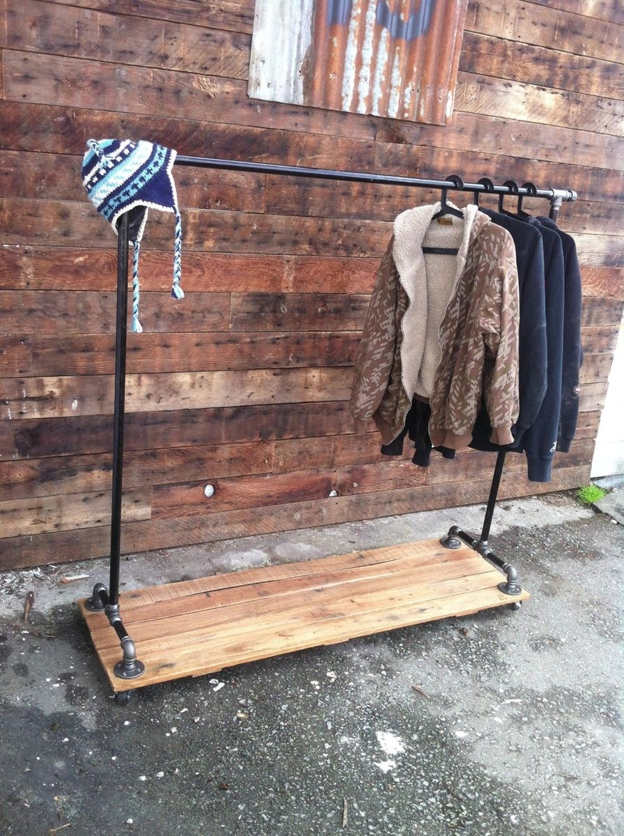 Hand Crafted Industrial Cast Iron Pipe Clothing Rack By J