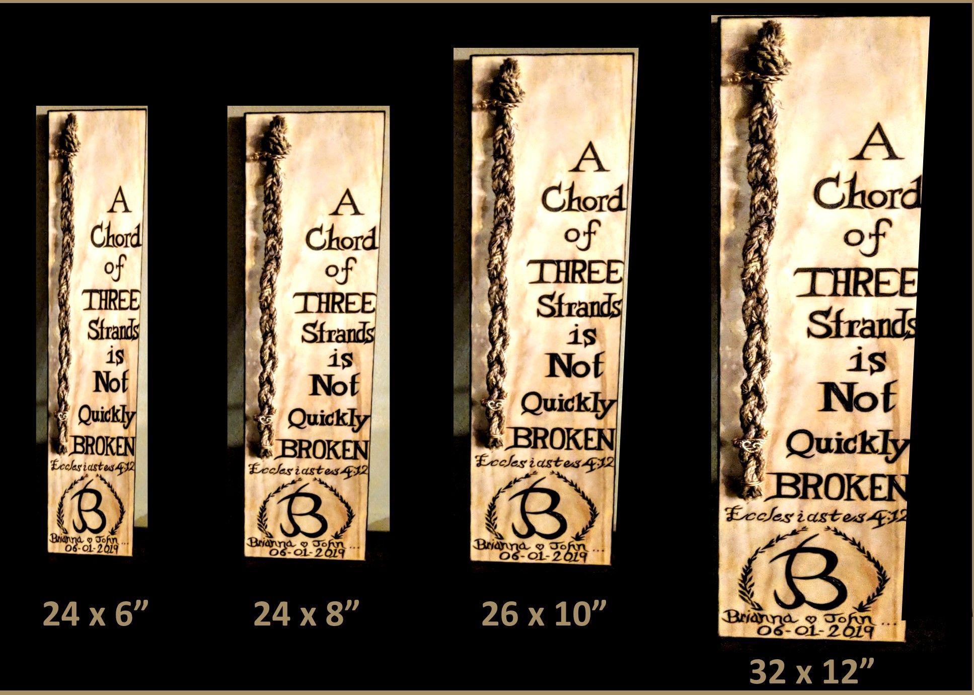 Wedding Braid Sign Cord Of Three Strands Ceremony Braid Sign Personalized Ceremony Braid