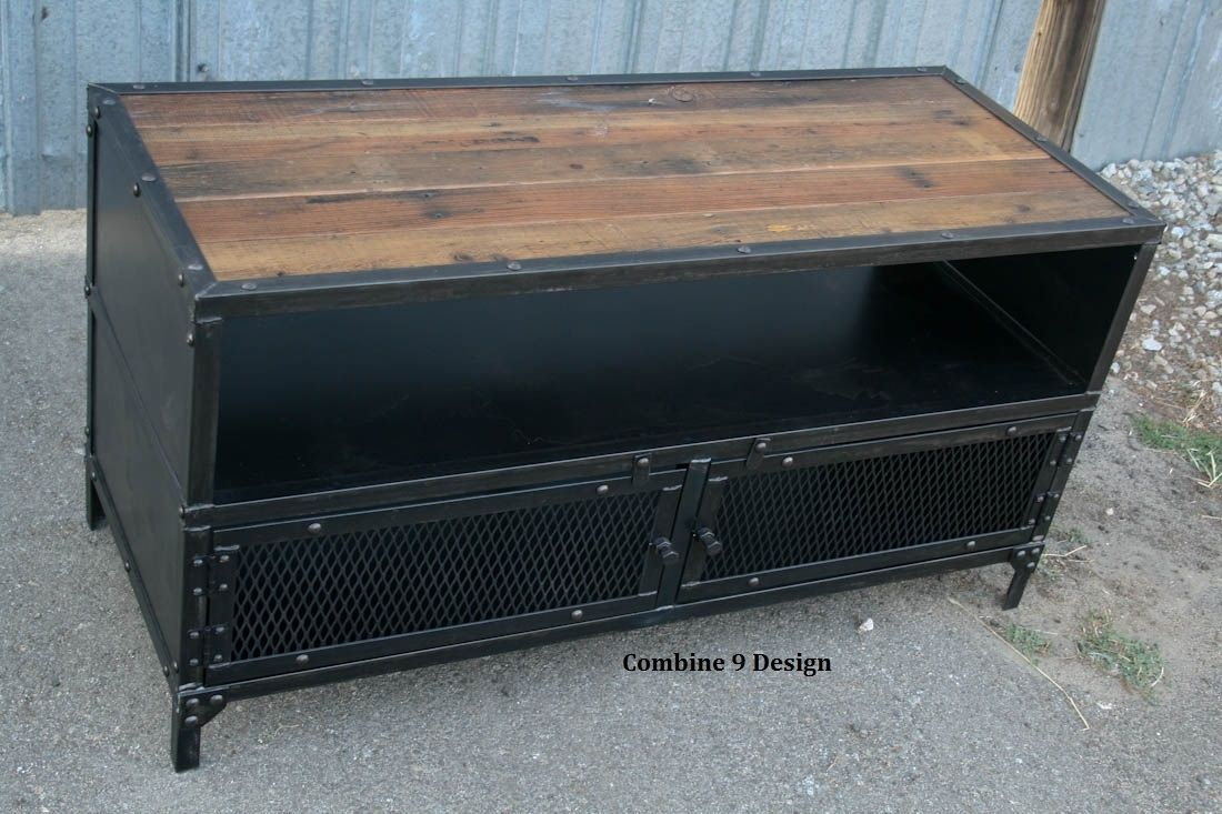 Buy A Hand Made Vintage Industrial Tv Stand Steel Reclaimed Wood