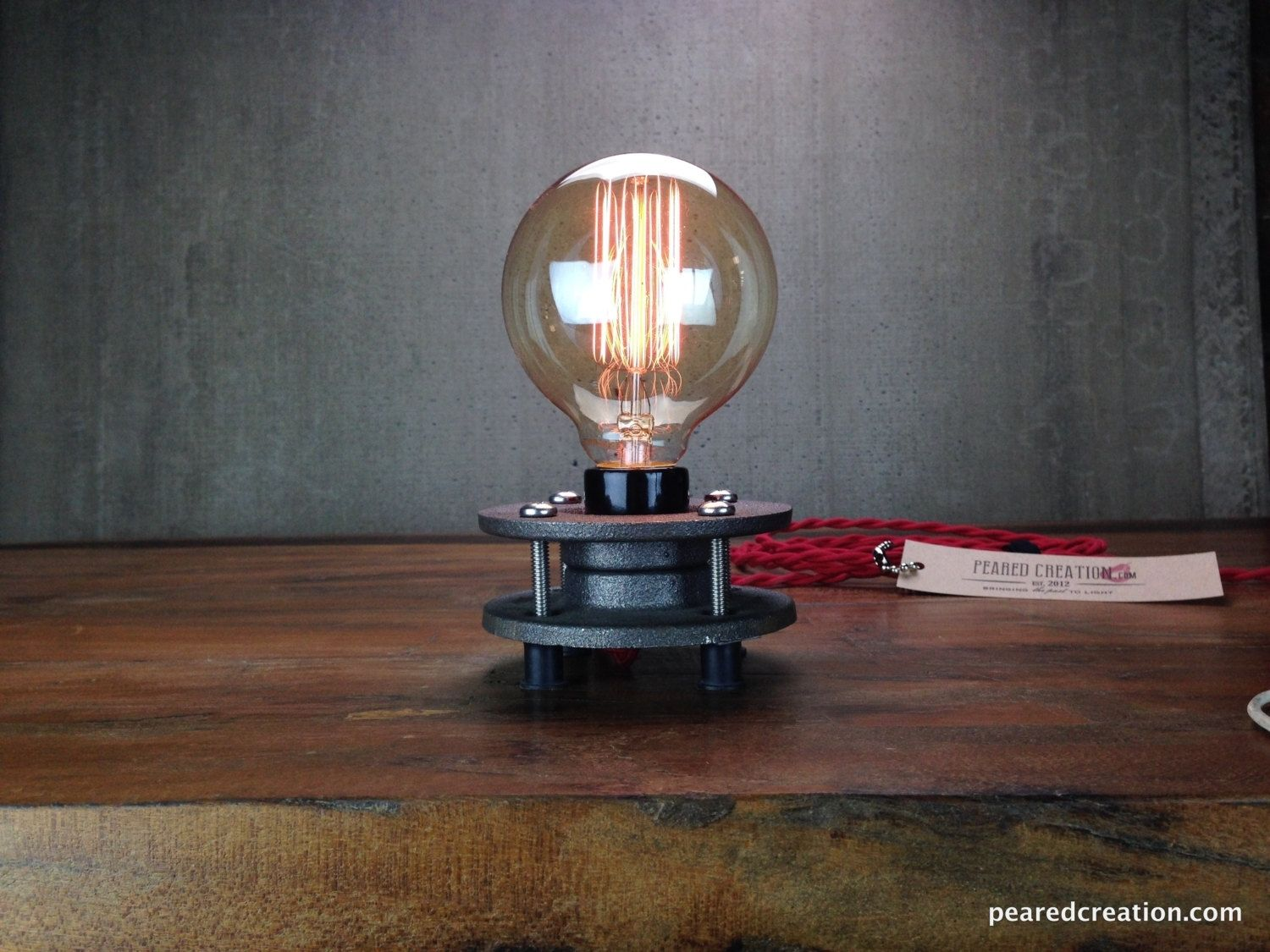 Buy A Hand Made Minimalist Table Lamp Bare Edison Bulb Made To