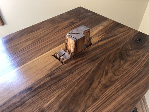 Custom Made Rustic Barn Beam And Walnut End Table