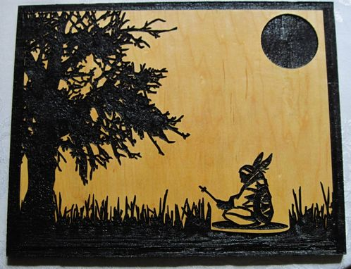Custom Made Midnight Prayer Native American Indian Deeply Carved Handmade Wood Wall Hanging