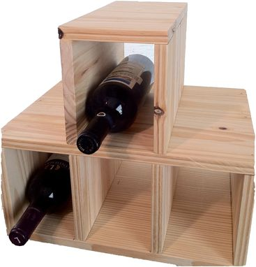 Custom Made 4 Bottle Table Top Wooden Wine Rack