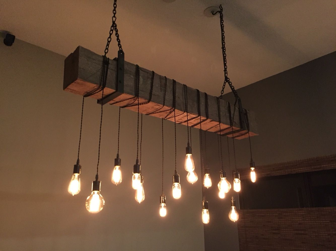 Buy a custom reclaimed barn beam chandelier light fixture modern buy a custom reclaimed barn beam chandelier light fixture modern industrial rustic restaurant bar lighting made to order from 7m woodworking arubaitofo Image collections