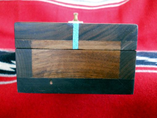 Custom Made Black Walnut Box With Turquoise Inlay And Velvet