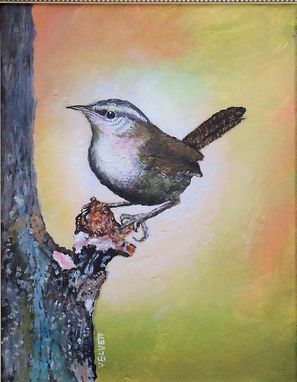 Custom Made Bird Painting; Wildlife Painting; A Bewick's Wren, Acrylic On Canvas Art For Sale.
