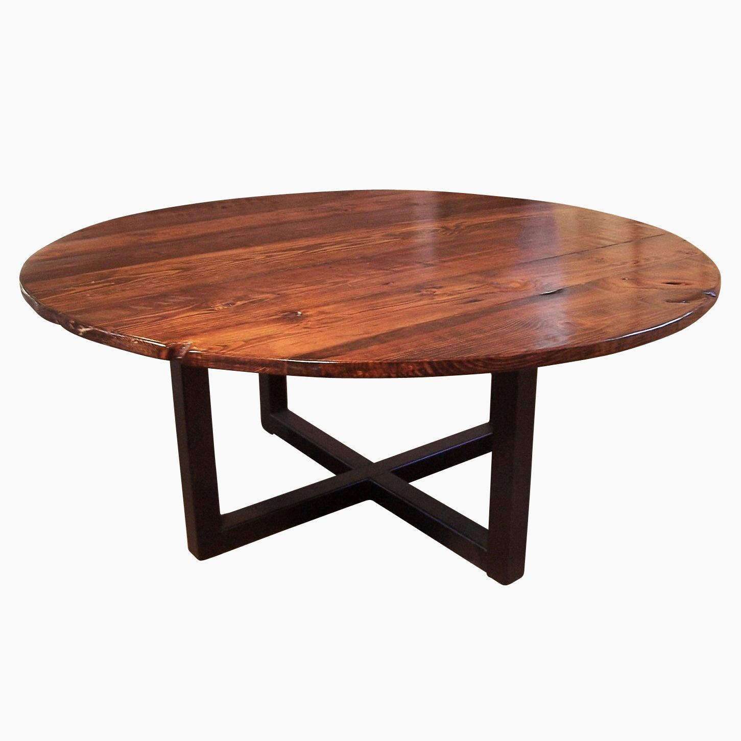 Buy a Hand Crafted Round Coffee Table With Industrial Metal