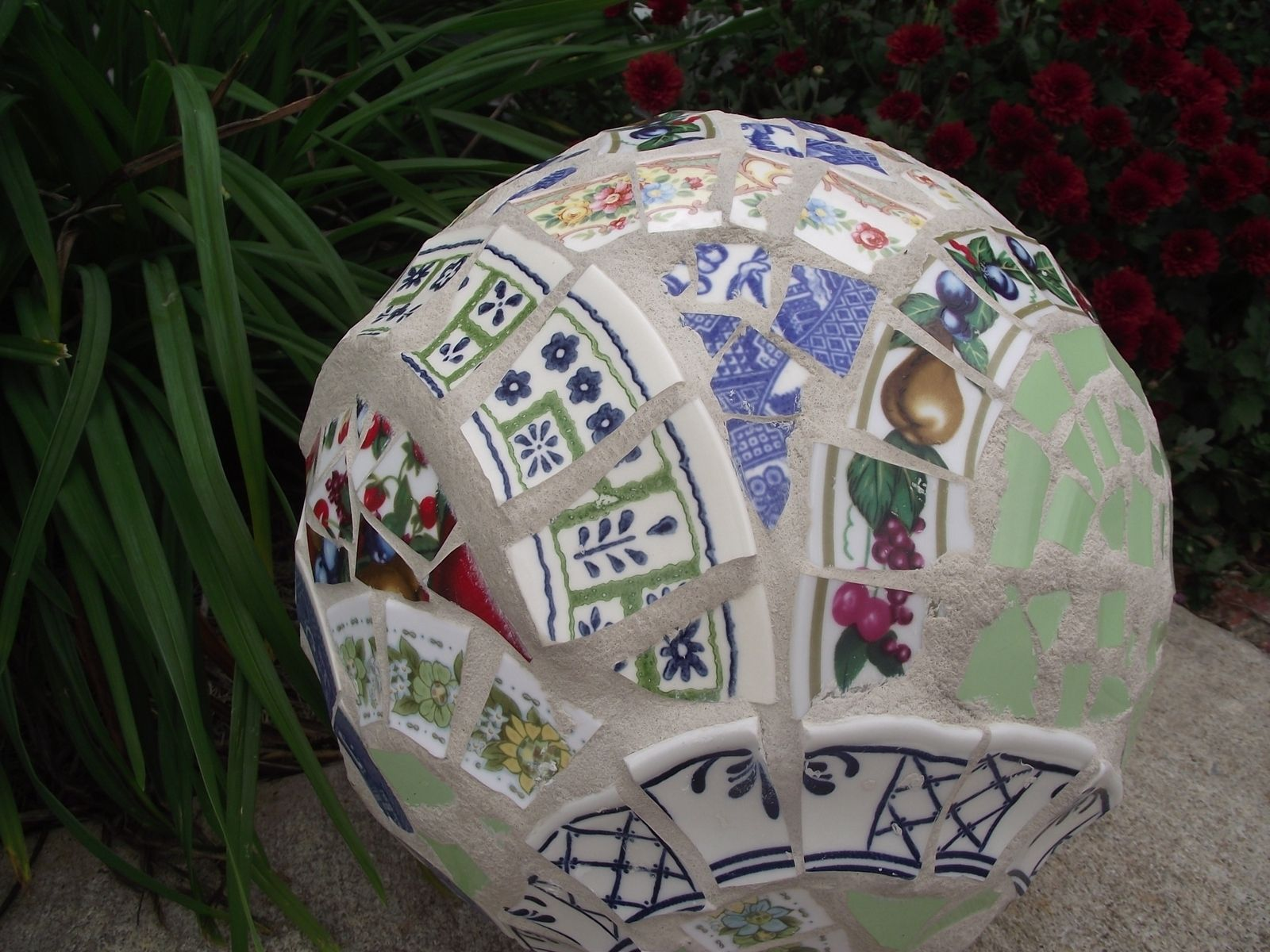 Hand Crafted Mosaic Garden Ball By Vintage Butterfly