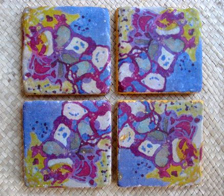 Custom Made Coasters Handmade Tile Set Of 4 With Original Artwork-Purple Magenta Ochre