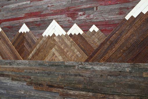 Custom Wood Wall Art Of A Fiery Sunset Mountain Landscape