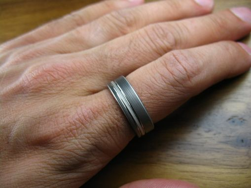 Custom Made Titanium Silver Pinstripe Men's Wedding Ring