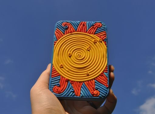 Custom Made Sun Decorative Tin, Cigarette Case Or Wallet
