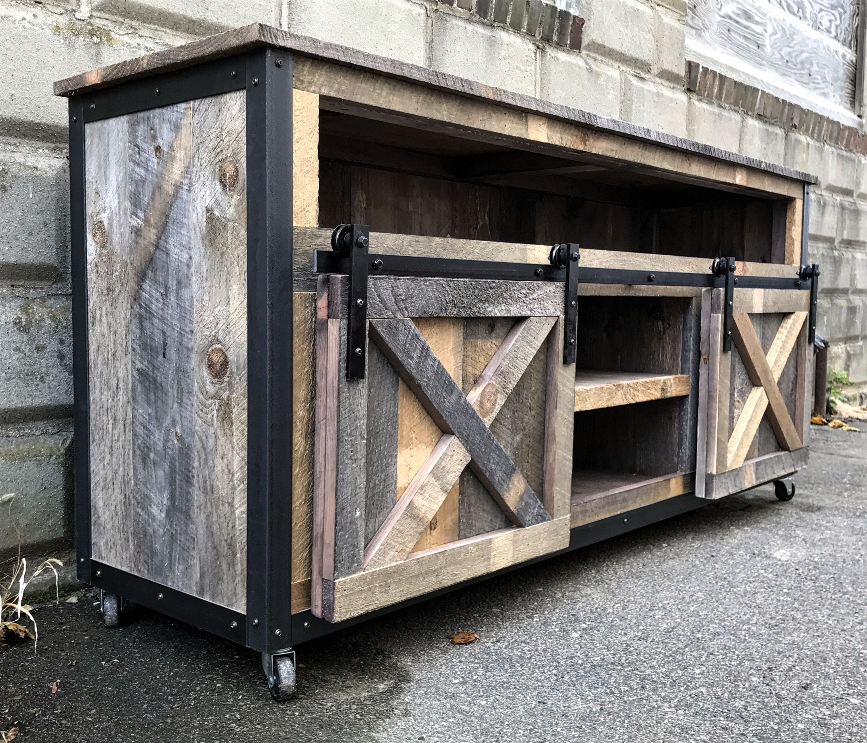 Hand Crafted Rustic Industrial Barn Board Media Stand Tv Stand W