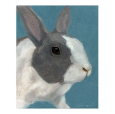 Custom Made Blue Bunny Rabbit Fine Art Print - Nursery Wall Art - Bunny Rabbit Art - 8x10 Matted