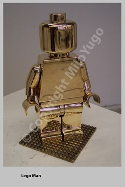 "Custom Made Polished Cast Bronze / ""Lego Man"""