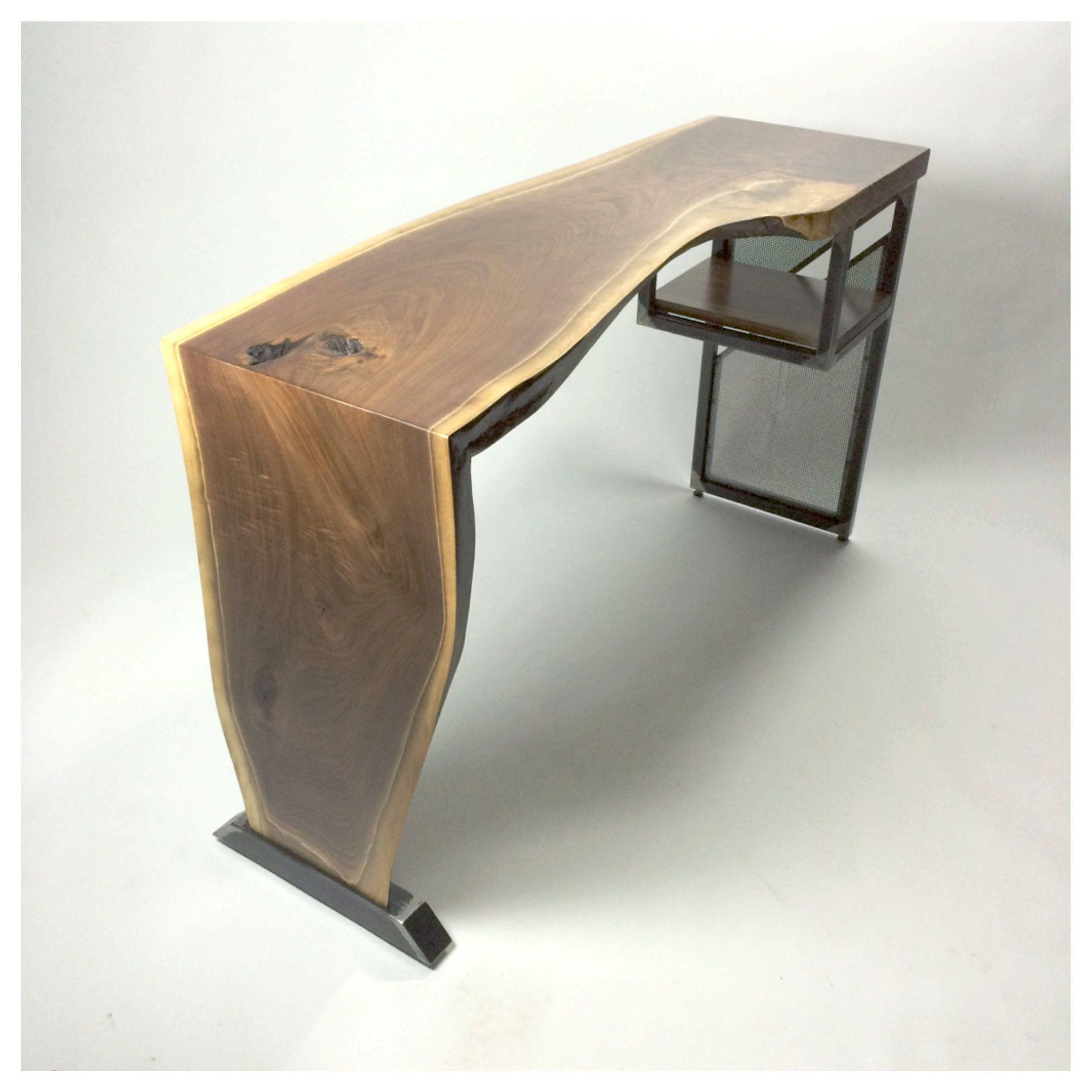 Handmade Live Edge Waterfall Desk Modern Industrial Steel
