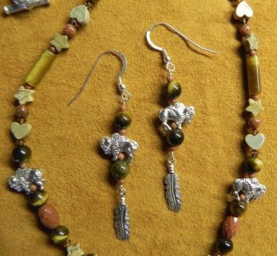 Custom Made Buffalo Bead Necklace & Earring
