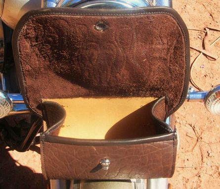 Custom Made Custom Designed Buffalo Leather Saddle Bags And Tool Bag
