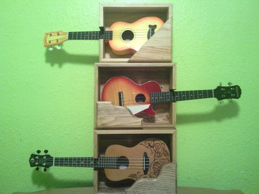 Custom Made Wooden Wall Mounted Shelf For Guitar