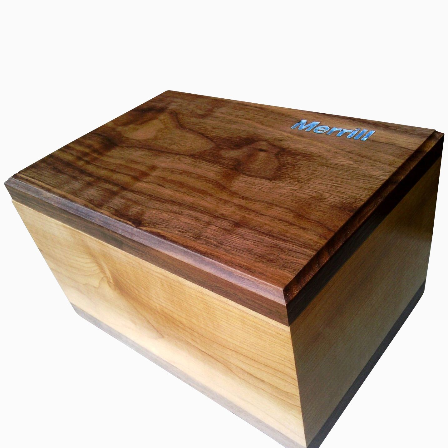 maple and walnut keepsake box with turquoise inlay