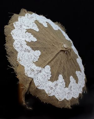 Custom Made Rustic Burlap And Lace Parasol