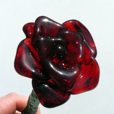 "Custom Made Extra Large Long-Stemmed Red Glass Rose ""Forever Untamed Rose''"