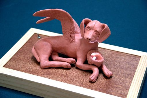 Custom Made Clay Sculpture Angel Dog