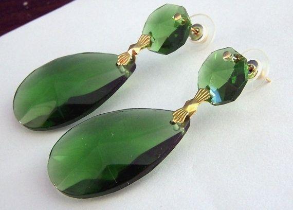 Custom Made Earrings Emerald Green Large