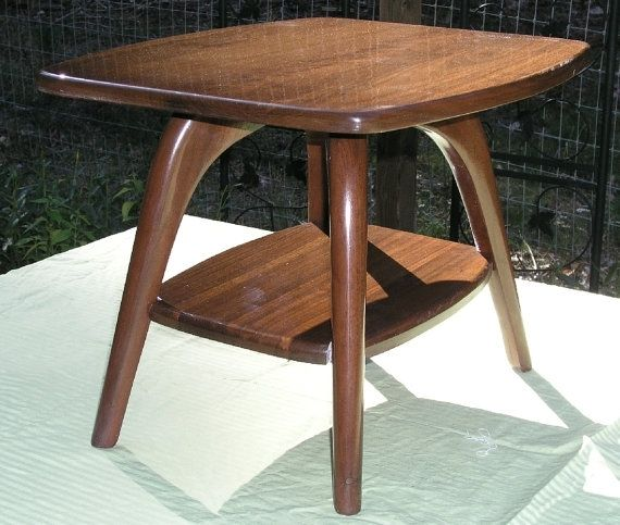 Custom Made Mid Century Modern Coffee Table End Solid Walnut With Black Truffle