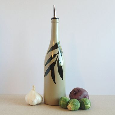 Custom Made Large Oil Dispenser, Soap Dispenser, Tree Leaves, Willow, Pebble Color