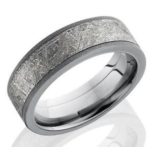 meteorite and titanium band by serge depoyan - Meteorite Wedding Rings