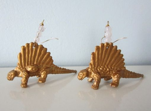Custom Made Upcycled Earrings Made From Toy Dinosaurs - Gold Dimetrodons With White Glass Beads