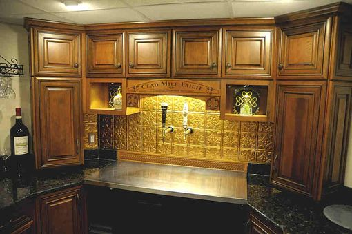 Custom Made Custom Bar With Cherry Wood Bar Top