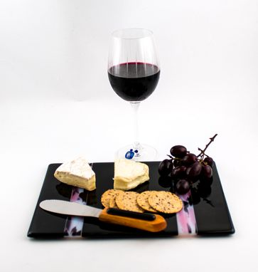 Custom Made Cheese Tray, Fused Glass, Black And Pink With Matching Spreader