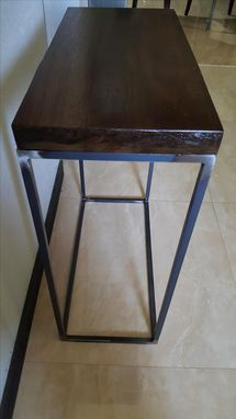 Custom Made Simplistic Modern Metal Base End Table With Walnut Top