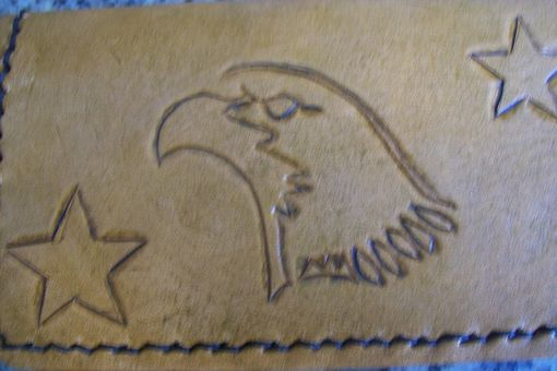 Custom Made Custom Leather Business Card Case With Eagle And Star Design