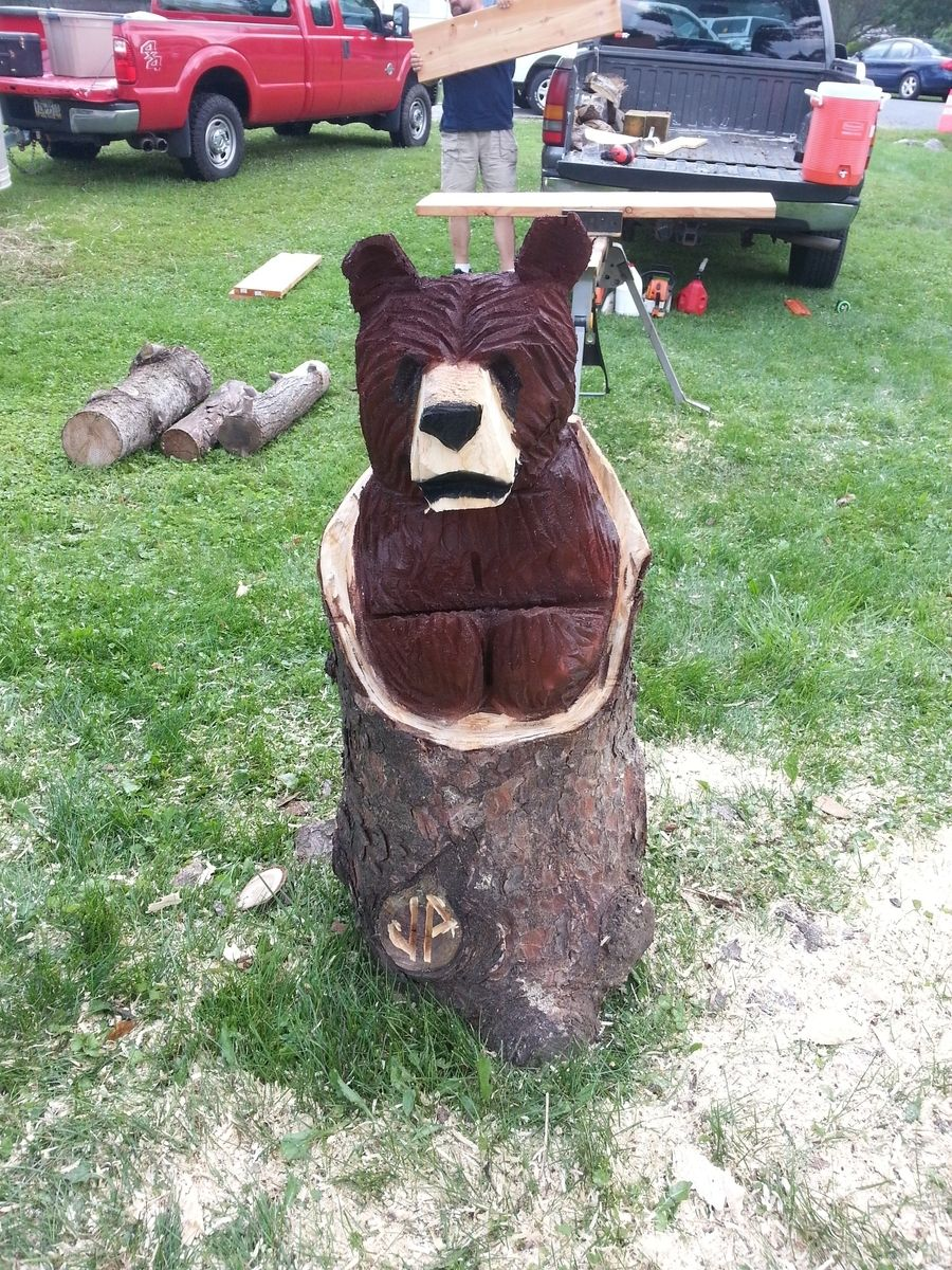 Handmade Chainsaw Carved Brown Bear In A Log By Parrish
