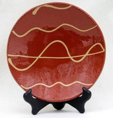 Custom Made Red Ceramic Plate With White Lines