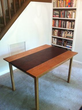 Custom Made Dining Table, White Oak/Black Walnut