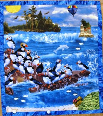 "Custom Made Quilted Landscape Wall Hanging - ""Puffin Cove"""