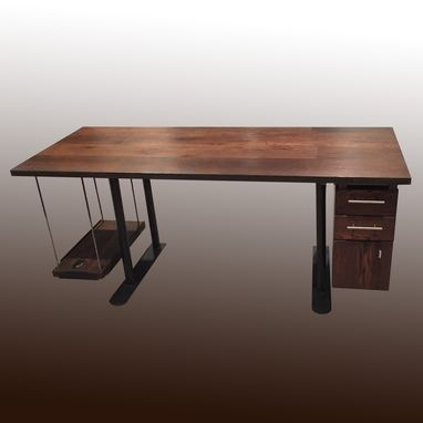 Custom Made Reclaimed Oak And Steel Computer Desk