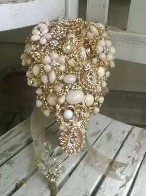 Custom Made Brooch Bouquet With Jeweled Cascade