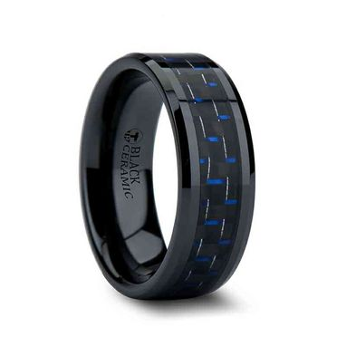 Custom Made Avitus Black Beveled Ceramic Ring With Blue & Black Carbon Fiber Inlay - 8mm - 10mm