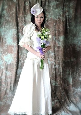 Custom Made Steam Punk Romantic Fantasy Wedding Dress Ensemble With Small Satin Top Hat