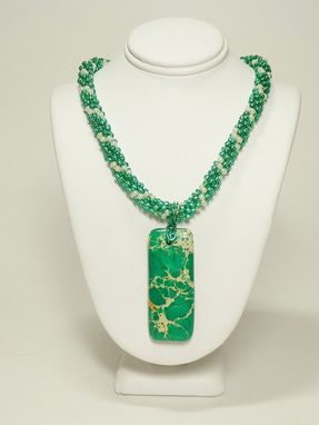 Custom Made Jade Green Kumihimo Necklace With Jade Magnasite Pendant